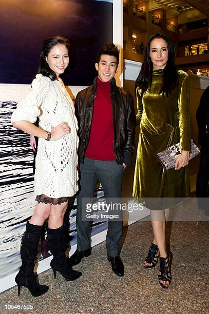 Ana R Aarif Lee and Lisa S attend the Pringle Of Scotland Hong Kong store opening cocktail party and exhibition at Landmark Central on October 7 2010...