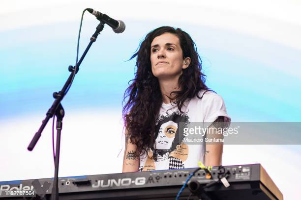 Ana Rezende of Cansei de Ser Sexy performs live at Popload Festival on stage at Memorial da America Latina on November 15 2019 in Sao Paulo Brazil