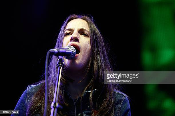 Ana Rezende of CSS performs on stage during the Falls Music Festival on December 29 2011 in Lorne Australia
