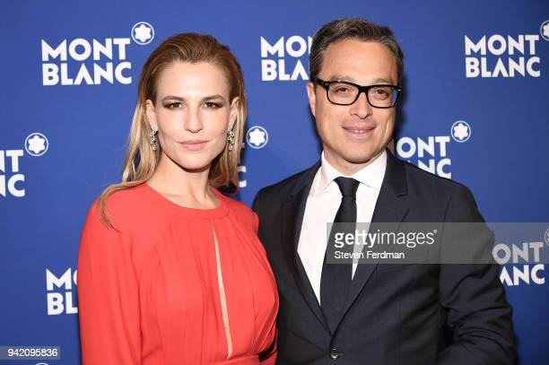 Ana Rita Clara and Nicolas Baretzki attend Montblanc Celebrates 'Le Petit Prince' at the One World Trade Center Observatory on April 4 2018 in New...
