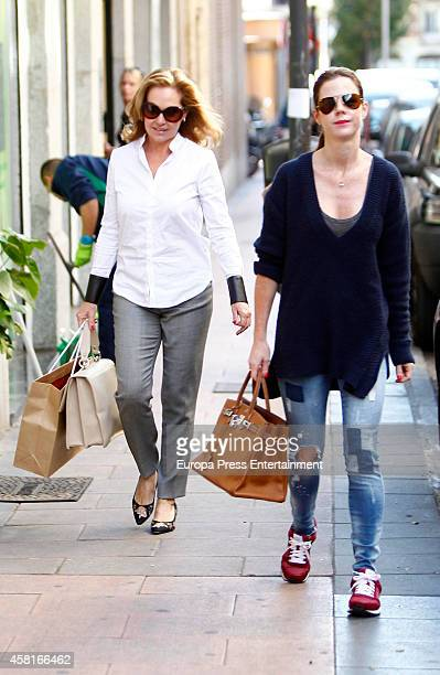 Ana Rodriguez and her daughter Amelia Bono are seen on October 30 2014 in Madrid Spain