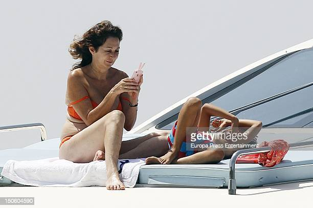 Ana Rosa Quintana and her son are seen on August 1 2012 in Palma de Mallorca Spain