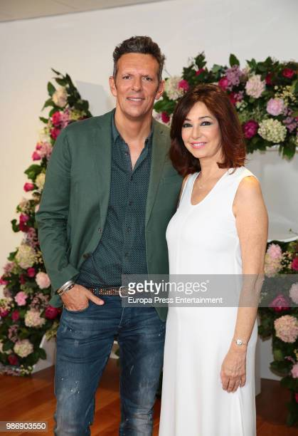 Ana Rosa Quintana and Joaquin Prat pose during the balance of the 14th season of 'El Programa de Ana Rosa' tv programme on June 28 2018 in Madrid...