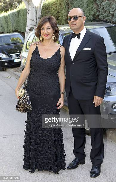 Ana Rosa Quintana and Juan Munoz attend Emiliano Suarez and Carola Baleztena's wedding party on September 9 2016 in Madrid Spain