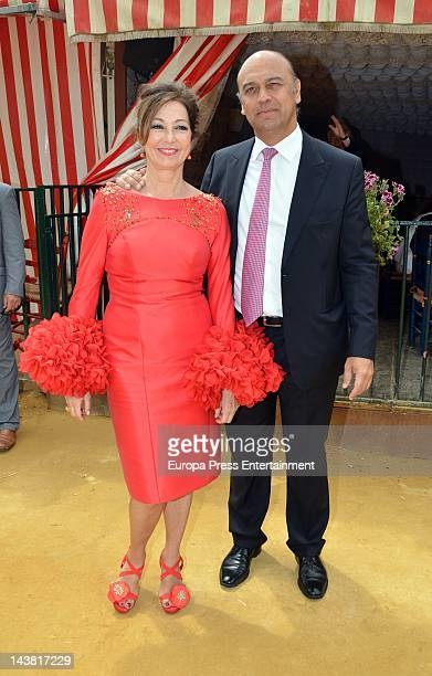 Ana Rosa Quintana and Juan Munoz attend 'Feria de Abril 2012' the traditional Seville's Fair on April 27 2012 in Seville Spain