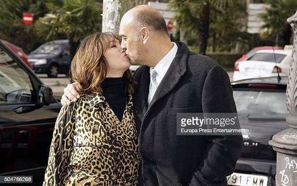 Ana Rosa Quintana celebrates with her husband Juan Munoz her 60'th birthday on January 12 2016 in Madrid Spain