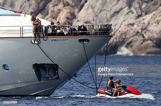 Ana Rosa Quintana her husband Juan Munoz and children are seen on August 1 2012 in Palma de Mallorca Spain