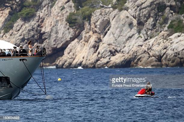 Ana Rosa Quintana her husband Juan Munoz and children are seen on August 1 2012 in Palma de Mallorca Spain