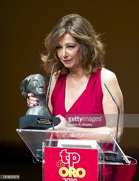 Ana Rosa Quintana receives a TP award during the 'TP Awards 2010' at the Canal Theater on February 28 2011 in Madrid Spain