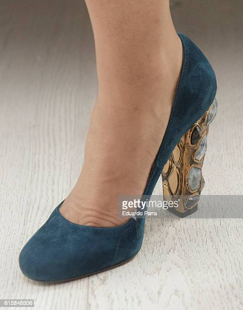 Ana Rosa Quintana shoes detail attends 'Cuarzo' new headquarters presentation on October 20 2016 in Madrid Spain