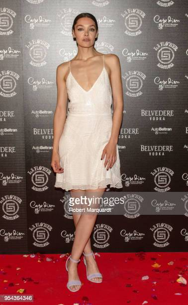 Ana Rujas attends a photocall for Flower Power Party at Carpe Diem Lounge Club on May 3 2018 in Barcelona Spain