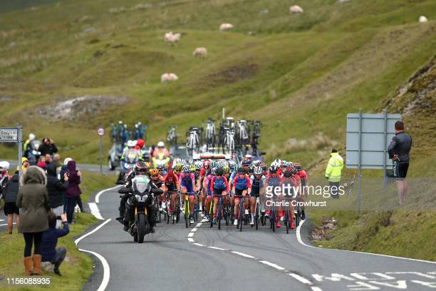 Ana Santesteban of Spain and Team WNT Rotor Pro Cycling / Kathrin Hammes of Germany and Team WNT Rotor Pro Cycling / Elisa Longo Borghini of Italy...