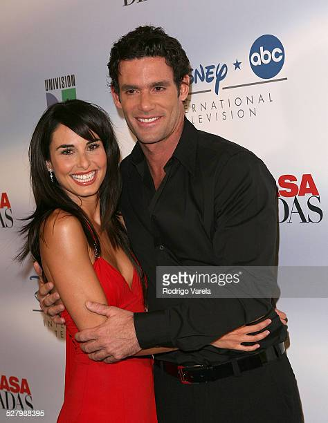 Ana Serradilla and Bernie Paz pose at the launch party for Amas de Casa Desesperadas at Karu Y on January 8 2008 in Miami Florida
