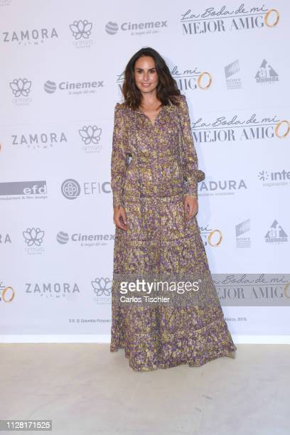 Ana Serradilla poses for photos during the 'La Boda de Mi Mejor Amigo' red carpet at Cinemex Antara Polanco on February 7 2019 in Mexico City Mexico