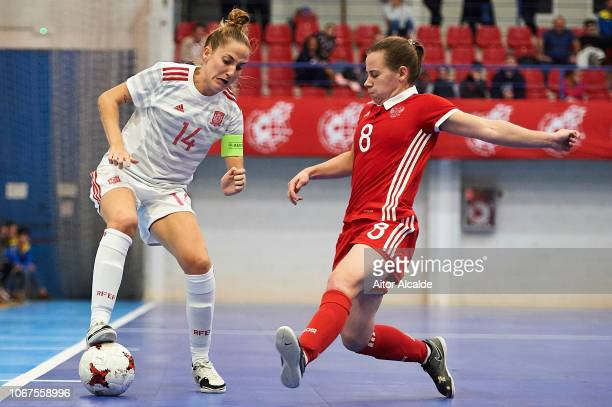 Ana Sevilla Lujan of Spain being followed by Krupina Maria of Russia during a friendly futsal match between Spain and Russia on November 14 2018 in...