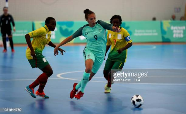 Ana Sofia Goncalves of Portugal in action against Cameroon in the Women's Group D match between Cameroon and Portugal during the Buenos Aires Youth...