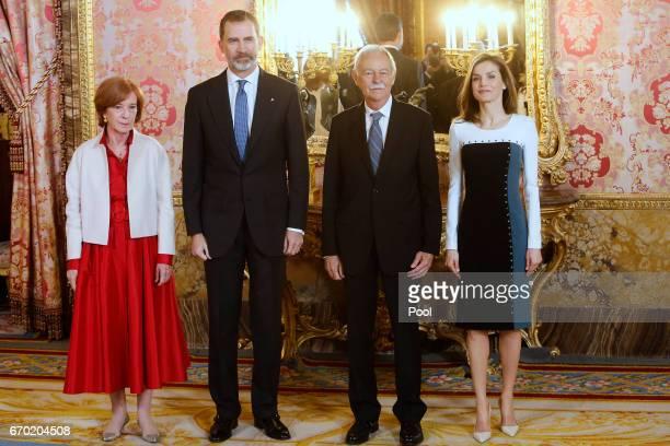 Ana Soler King Felipe VI of Spain Spanish author Eduardo Mendoza and Queen Letizia of Spain attend an official lunch for 'Miguel de Cervantes 2016'...