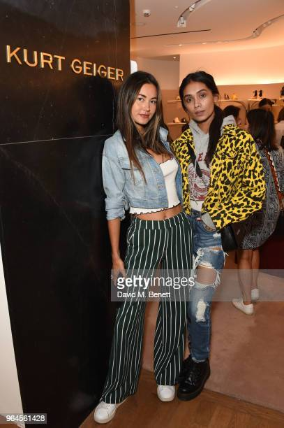 Ana Tanaka and Shree Patel attend the Kurt Geiger London Boutique launch at Selfridges on May 31 2018 in London England