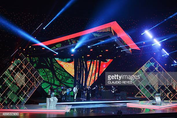 Ana Tijoux and her band performs during the Copa America 2015 draw ceremony at the Quinta Vergara in Vina del Mar Chile on November 24 2014 The Copa...