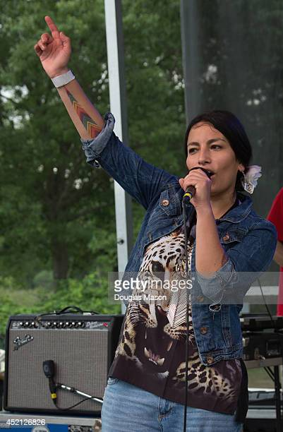 Ana Tijoux performs during the 2014 Green River Festival at Greenfield Community College on July 13 2014 in Greenfield Massachusetts