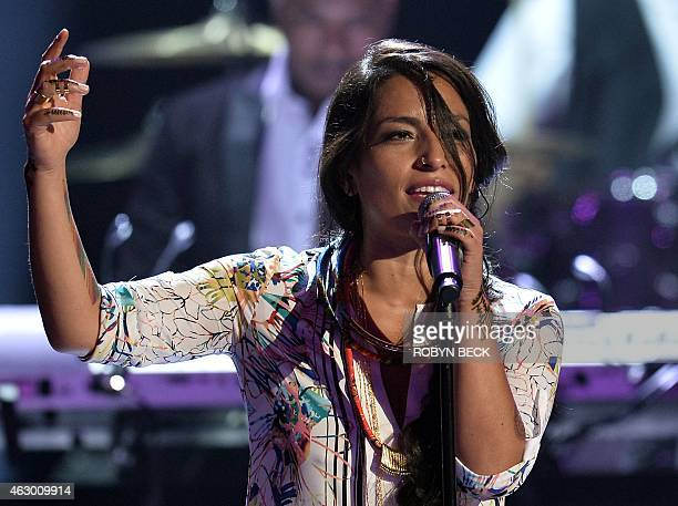 Ana Tijoux performs on stage at the 57th Annual Grammy Awards in Los Angeles February 8 2015 AFP PHOTO / ROBYN BECK