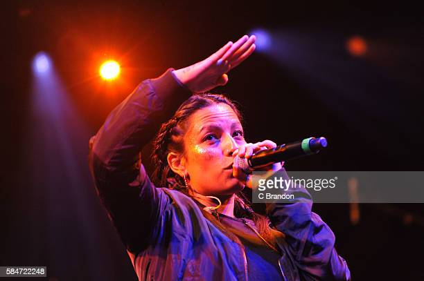 Ana Tijoux performs on stage during Day 3 of the Womad Festival at Charlton Park on July 30 2016 in Wiltshire England