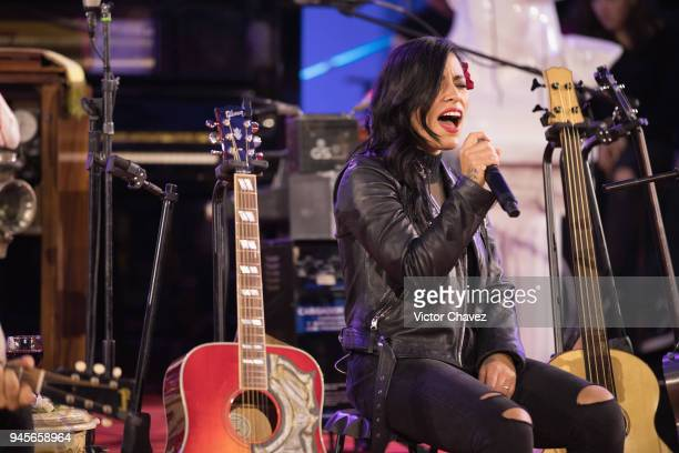 Ana Tijoux performs on stage during the enter Molotov MTV Unplugged at Quarry Studios on April 12 2018 in Mexico City Mexico