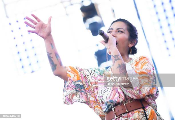 Ana Tijoux performs onstage at the 2018 Demon Dayz Festival at Pico Rivera Sports Arena on October 20 2018 in Pico Rivera California