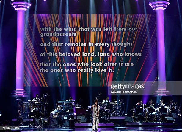 Ana Tijoux performs onstage during the The 57th Annual GRAMMY Awards Premiere Ceremony at Nokia Theatre LA Live on February 8 2015 in Los Angeles...