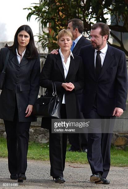 Ana Togores Henar Ortiz and Letiza's father Jesus Ortiz attend the funeral of Letizia's grandfather Jose Luis Ortiz Velasco at Nuestra Seora del...