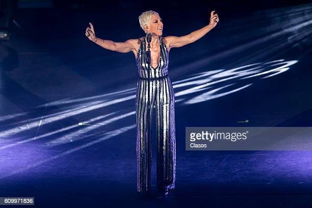 Ana Torrja Spanish singer and former member of the band 'Mecano' performs durng a show at Auditorio Nacional on September 22 2016 in Mexico City...