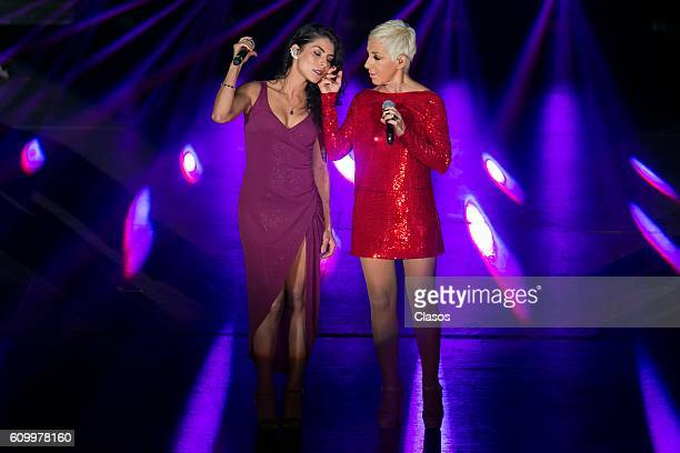 Ana Torrja Spanish singer and former member of the band 'Mecano' performs with María León during a show at Auditorio Nacional on September 22 2016 in...