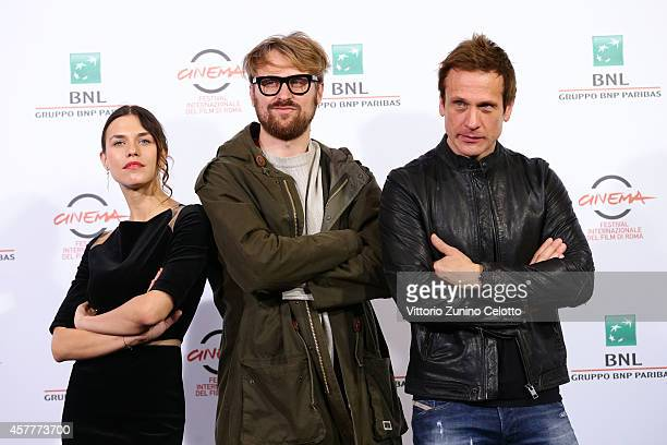 Ana Ularu Lorenzo Sportiello and Simon Merrells attend the 'Index Zero' Photocall during the 9th Rome Film Festival on October 24 2014 in Rome Italy