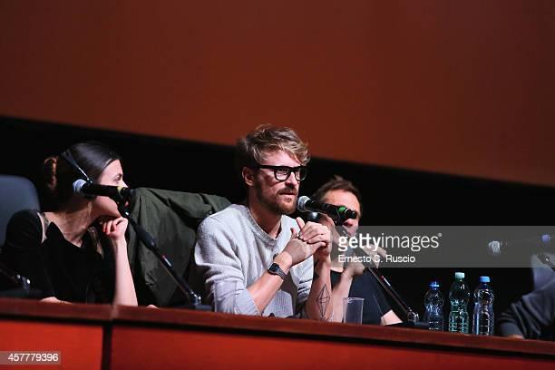 Ana Ularu Lorenzo Sportiello and Simon Merrells attend the 'Index Zero' Press Conference during the 9th Rome Film Festival on October 24 2014 in Rome...