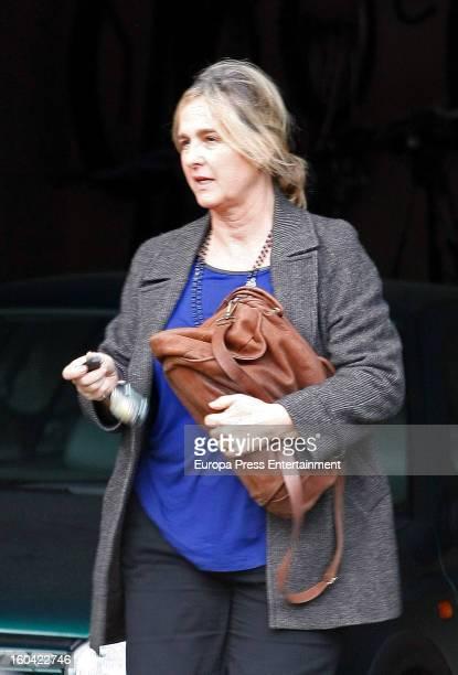 Ana Urdangarin is seen leaving Princess Cristina of Spain and Inaki Urdangarin's home on January 17 2013 in Barcelona Spain