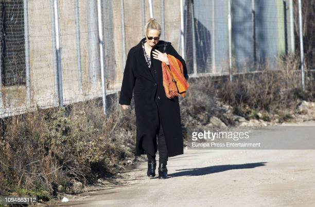Ana Urdangarin is seen visiting Inaki Urdangarin at prison on January 15 2019 in Brieva Spain