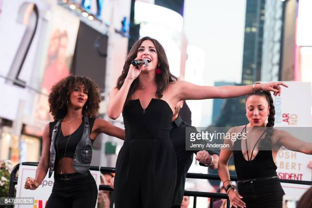 Ana Villafane performs during Viva Broadway to kick off Hispanic Heritage Month at Duffy Square in Times Square on September 15 2017 in New York City