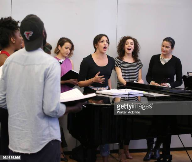 Ana Villafane with cast during the Broadway Center Stage Rehearsal for 'In the Heights' on March 13 2018 at Baryshnikov Arts Center in New York City
