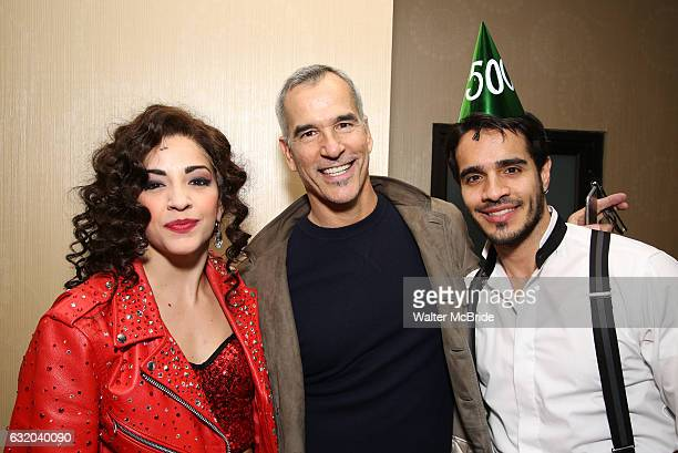 Ana Villafane with director Jerry Mitchell and Ektor Rivera from the Broadway production of 'On Your Feet' celebrate their 500th performance at...