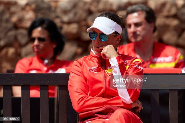 Anabel Medina Captain of Spain reacts during day two of the Fedcup World Group II Playoffs match between Spain and Paraguay at Centro de Tenis La...