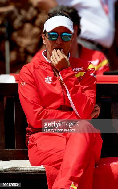 Anabel Medina captain of the Spanish team look the match between Garbine Muguruza of Spain against Veronica Cepede of Paraguay during day two of the...