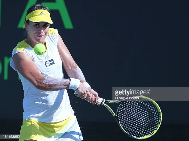 Anabel Medina Garrigues returns the ball to Alexandra Dulgheru during the Sony Open tennis tournament at Crandon Park in Key Biscayne Florida...