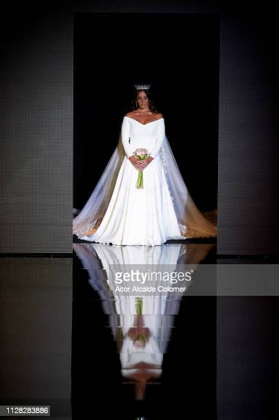 Anabel Pantoja walks the runway at the Alonso Cozar fashion show during the Day 2 of SIMOF 2019 on February 08 2019 in Seville Spain