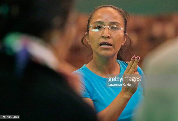 LOS ANGELES CA OCT 13 2014 Anabella Sales parent of Jefferson High student questioning LAUSD officials during a meeting with parents at Thomas...