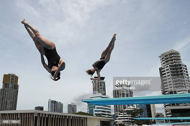 Anabelle Smith and Maddison Keeney of Australia compet in the Women's 3m Springboard during the FINA Diving Grand Prix on November 1 2015 on the Gold...
