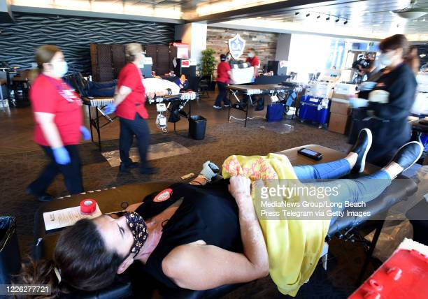 Anaclaudia Priggione donates blood inside the Stadium club at Dignity Health Sports Park in Carson on Thursday May 21 2020 This was the first of two...