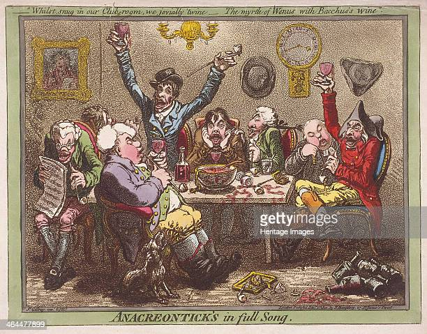 'Anacreontick's in full Song' 1801 A scene of drunkenness and excess the man in the foreground smoking a pipe has extremely swollen legs a result of...