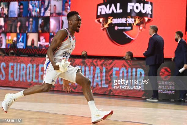Anadolu Efes Istanbul's Rodrigue Beaubois celebrates after the Basketball Euroleague Final Four championship final match between FC Barcelona and...