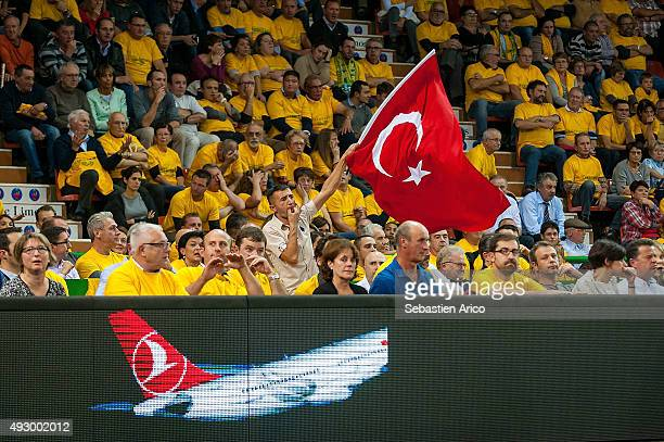 Anadolu Efes Supporters during the Turkish Airlines Euroleague Basketball Regular Season Date 1 game Limoges CSP v Anadolu Efes Istanbul at Beaublanc...
