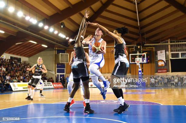 Anael Lardy of Montpellier and Marielle Amant of Villeneuve d Asq during the women's french League final match between Montpellier Lattes and...